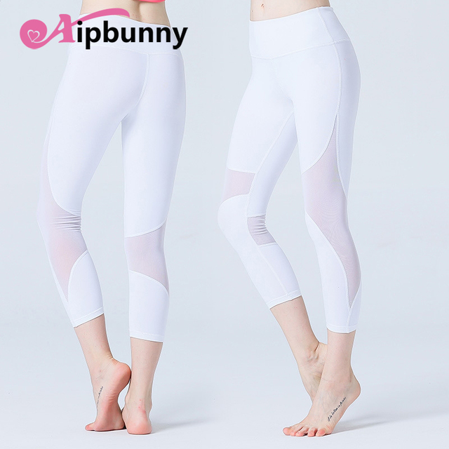 9efd887dc76e7 Mesh Ultrathin Compression Breathable Running Workout Women Yoga Cropped  Pants Fitness Quick Dry Pencil Sport
