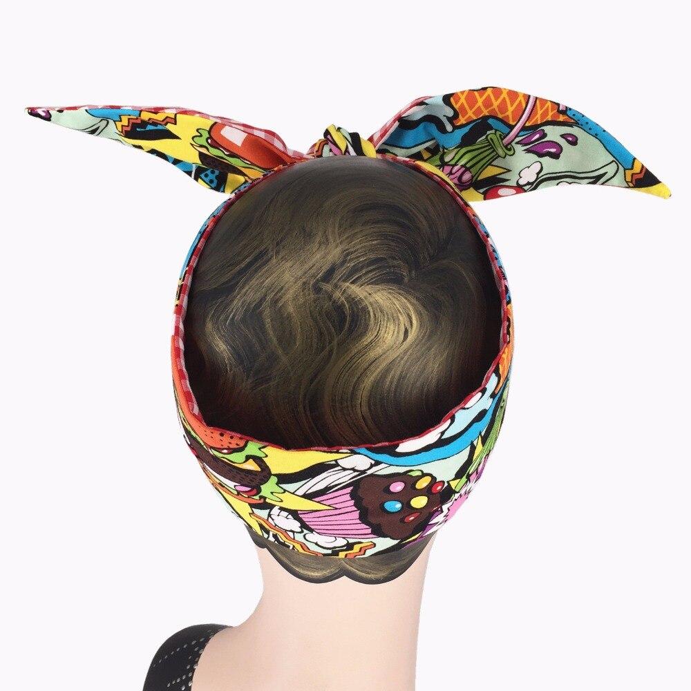 22554c357593 women vintage 50s popart icecream gingham print headband bow tie rockabilly  pinup style bandans hair scarf wire wrap accessories-in Women's Hair  Accessories ...
