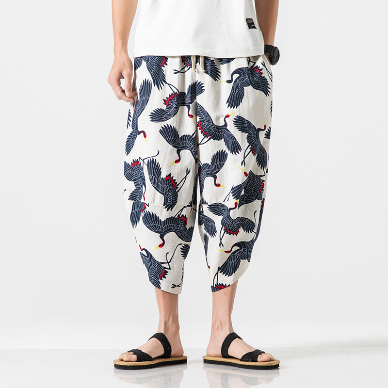 Pants Trousers Harem Loose Cotton Linen Male Streetwear Summer Casual Fashion Hip-Hop
