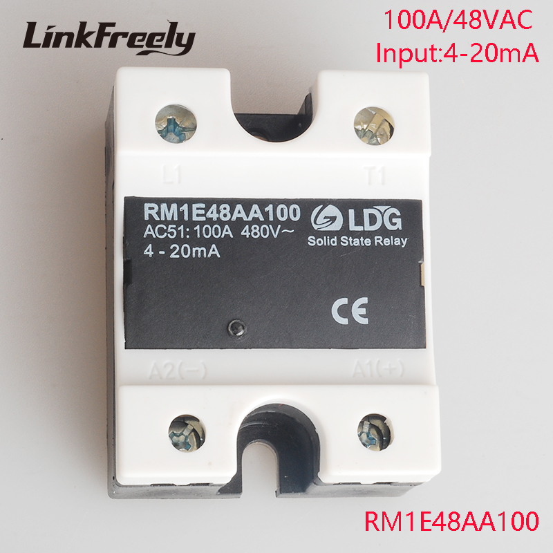 RM1E48AA100 New Analog SSR Solid Relay 100A 220V,Output:42-530V AC Input:4-20mA,Electrical Voltage SMD Mini Relay Module Factory