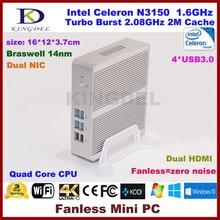 3 Года Гарантии Barebone PC Intel NUC Celeron N3150 Intel Braswell Безвентиляторный Мини-ПК Windows HTPC Mini-Itx Микро ПК