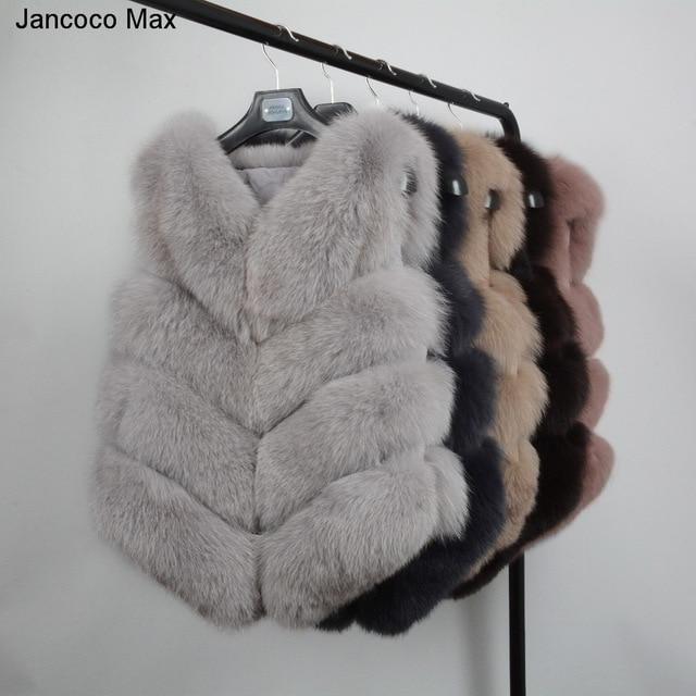 Jancoco Max Women's Real Fox Fur Waistcoat Lady Winter Fashion Style Vests Genuine Fashion Gilet Wholesale / Retail S1677