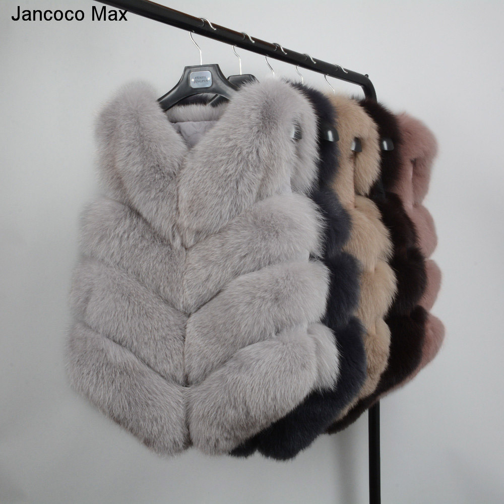 Jancoco Max femmes 4 Rangs Gilet De Fourrure Réel Doux Épais Renard Fourrure Gilet Dame Hiver Véritable Gilet de Mode En Gros /au détail S1677