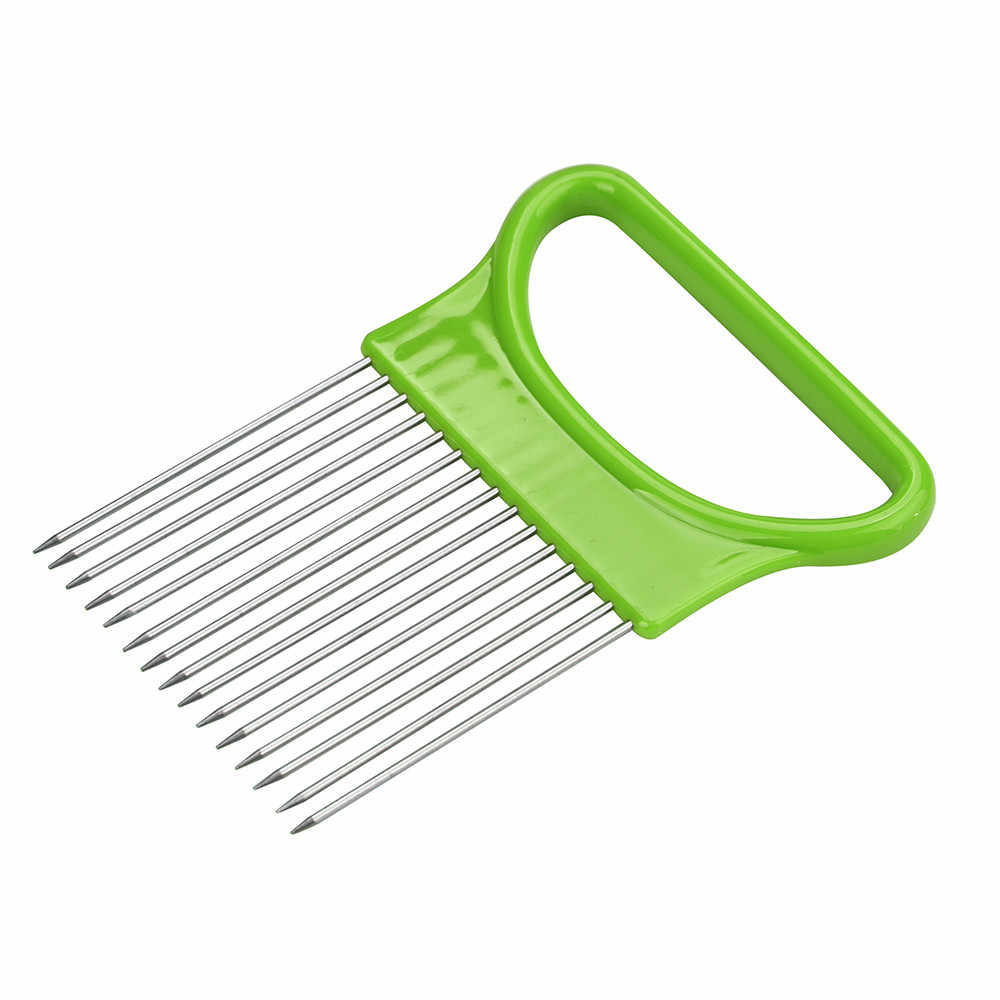 Tomate cebola legumes slicer suporte de ajuda de corte guia cortador garfo seguro cozinha gadgets legumes ferramentas corte 0.732