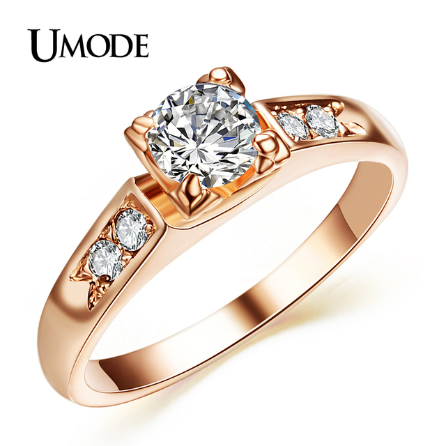 UMODE Top Selling High Quality Rose Gold Color Fashion CZ Cubic Zirconia  Wedding Rings JR0006A