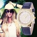 2016 Nuevos Pulsera de Las Mujeres Reloj Cristalino de las señoras Ginebra Acero Inoxidable Relojes de Moda Relojes de pulsera de Cuarzo Relojes Mujer