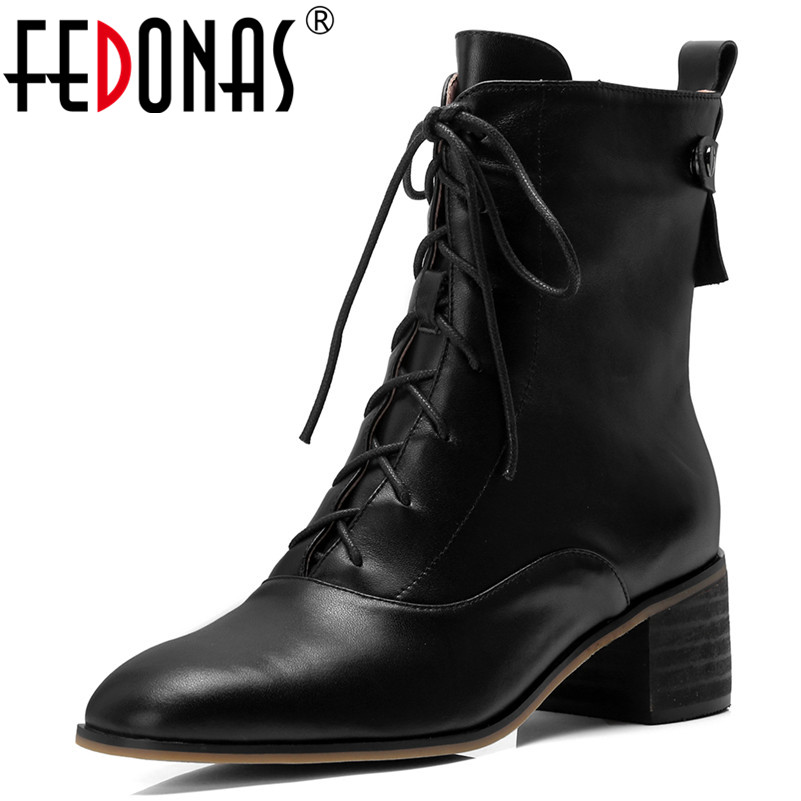 FEDONAS 1Fashion Women Ankle Boots Round Toe Genuine Leather High Heels Shoes Woman Autumn Winter Warm Cross-tied Casual Boots 2018 new arrival genuine leather zipper runway autumn winter boots round toe high heels keep warm elegant women ankle boots l29