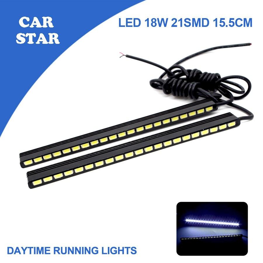 YUMSEEN 2шт/комплект день Лайтового LED авто светодиодные DRL 2*9ВТ 5730 21SMD 15.5 см Ультра Белый 100% Водонепроницаемый высокой мощности DRL для VW