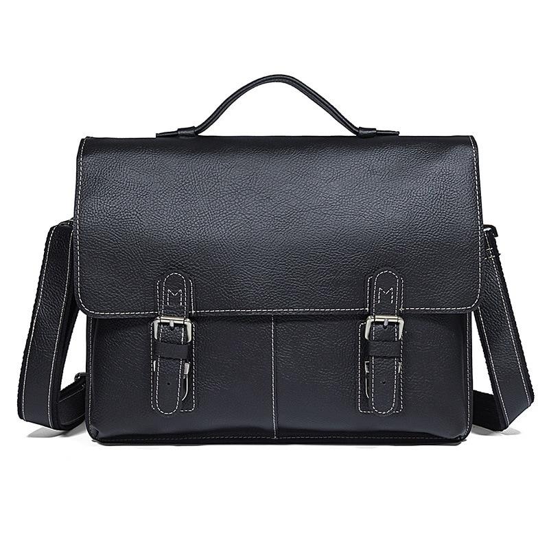 Nesitu Vintage Black Brown Durable Thick Genuine Leather Men s Briefcase Men Messenger Bags 14 Laptop