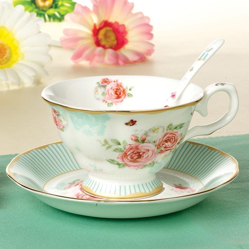 Jsaron старинные маленький цветок чай чашка кофе с ложкой и тарелка в подарочной