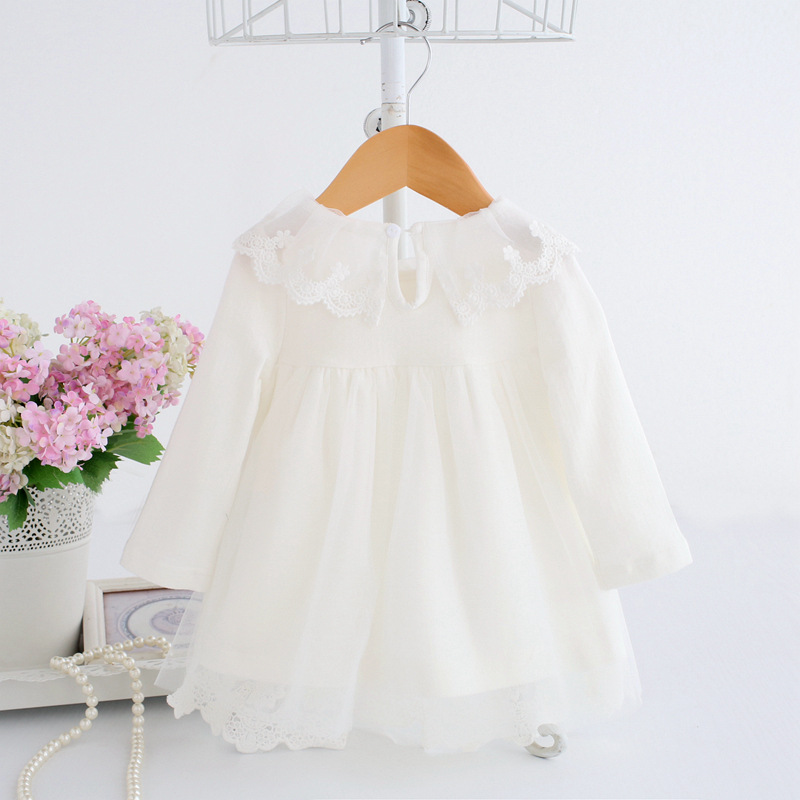 Baby Girl Dress 0-2Y Newborn Cute Baby Embroidery Cotton Dress Infant Baby Birthday Dress Baby Clothes with Toy Bear 2 Color