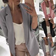 Women Clothes 2019 Moda Feminina Streetwear Long Sleeve Blazer Open Front Short Cardigan Suit Jacket Work Office Coat frilled bell sleeve and hem open front blazer
