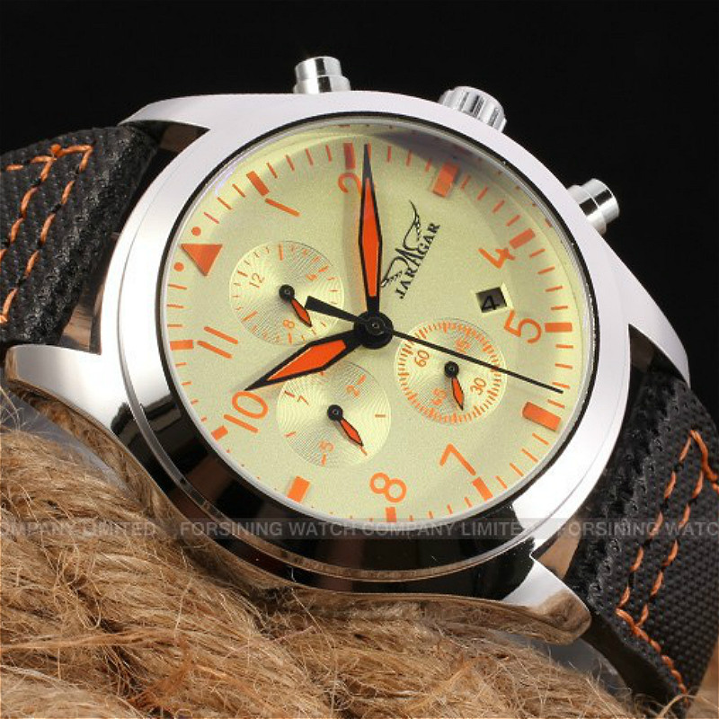Jaragar Automatic Men Watch Black Genuine Leather Strap with Gift Box
