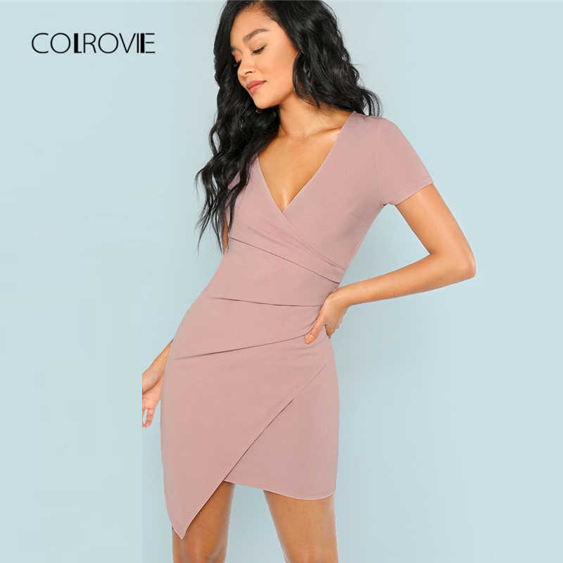 COLROVIE Pink V Neck Wrap Fitted Asymmetrical Sexy Party Dress Women 2018  Autumn Short Sheath Elegant 288b618201ab