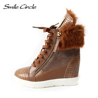 2014 Winter Women Isabel Marant Sneakers Leather Wedge Boots The Casual Warm Fur Boots Personalized Height