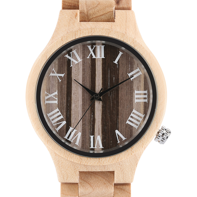 Fashion Luxury Full Bamboo Wood Watches Roman Numbers Casual Women's Watch Fold Over Clasp Quartz Wristwatch With Gift Bag sergey v ludkovsky operator algebras over cayley dickson numbers