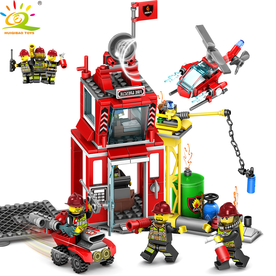 Huiqibao Toys 206pcs Fire Fighting Sprinkler Cars Fireman Figures Building Blocks Compatible City Trucks Vehicles Bricks Toys & Hobbies