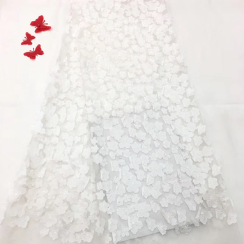 2018 High Quality Latest 3D Lace Fabric Beaded Trim Mesh White African Sequins Lace Material Appliques For Wedding Dress