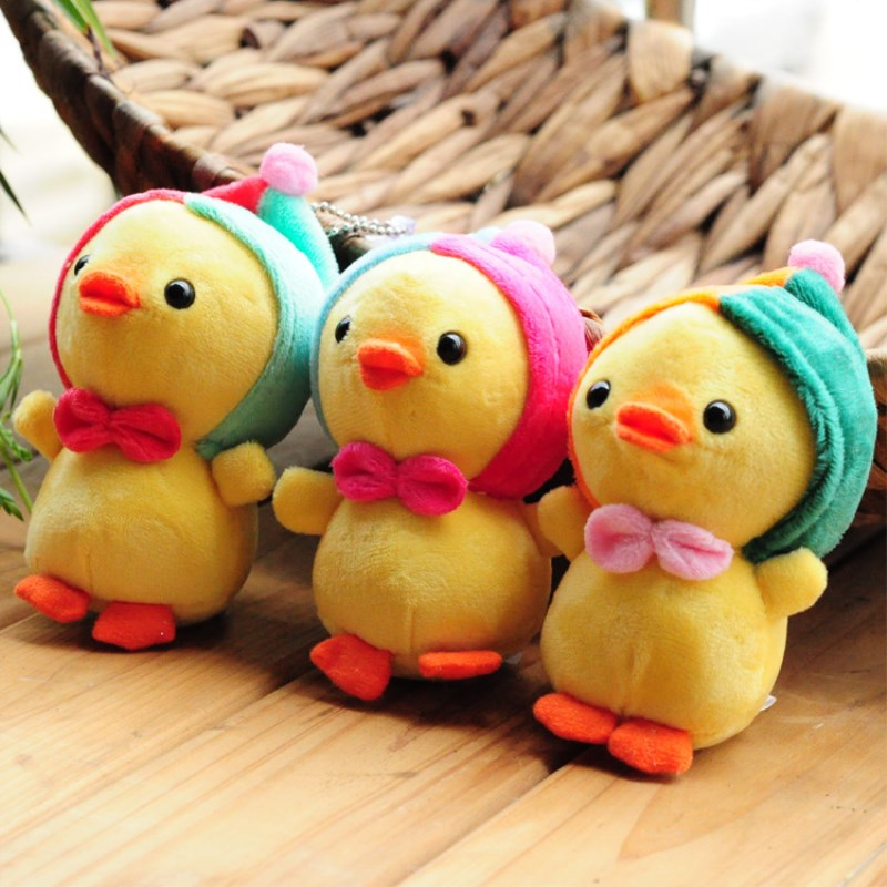 Stuffed Animals Kawaii Tie Chicken Plush  Toy For Children  Mobile Phone Backpack  Accessories  Anti-Stress Toys  Birthday Gifts