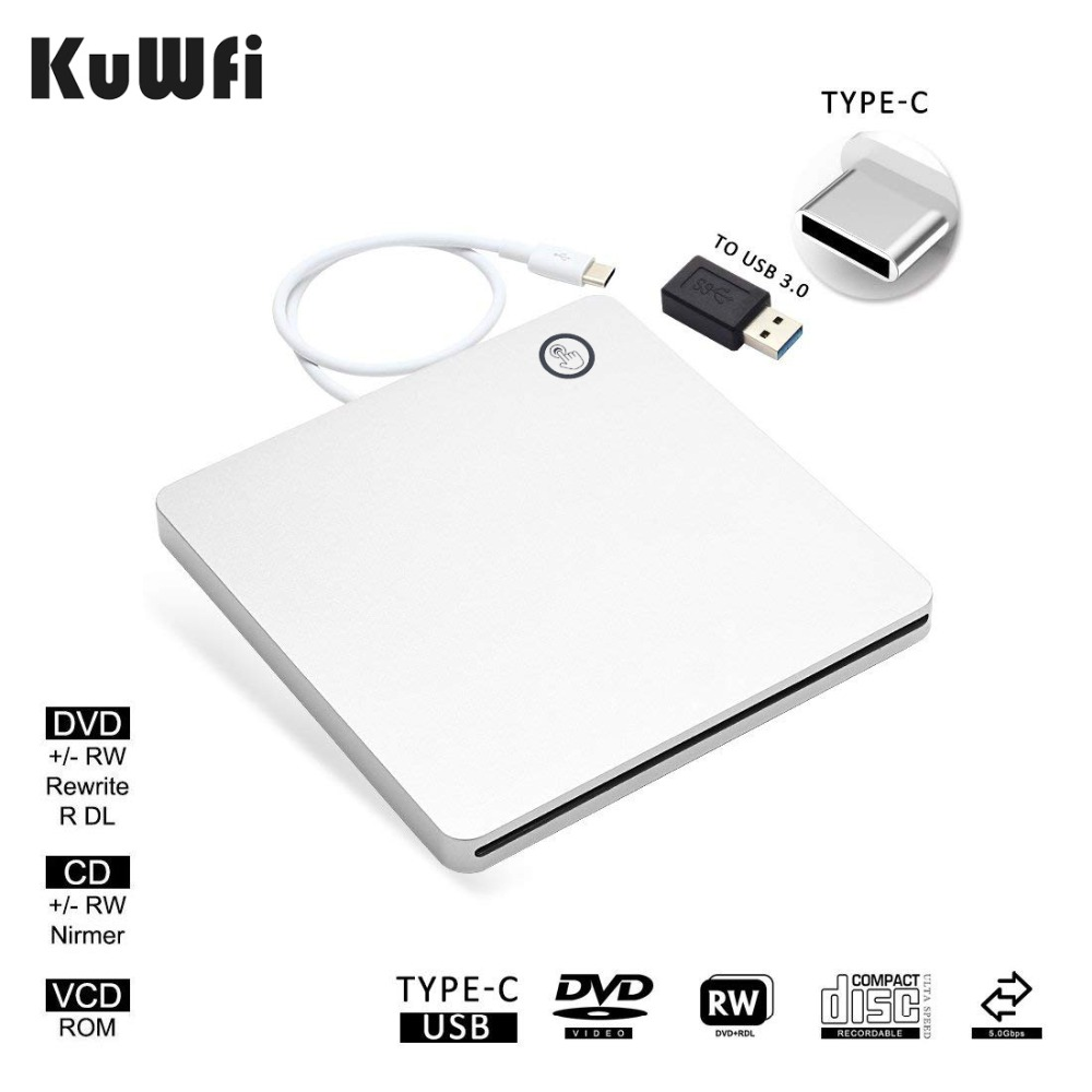 USB-C Superdrive External Drive Burner DVD CD VCD Reader +/- RW Rewriter Writer Player For Laptop/Desktop Windows For Mac OS vcd dvd player and drive cleaner kit
