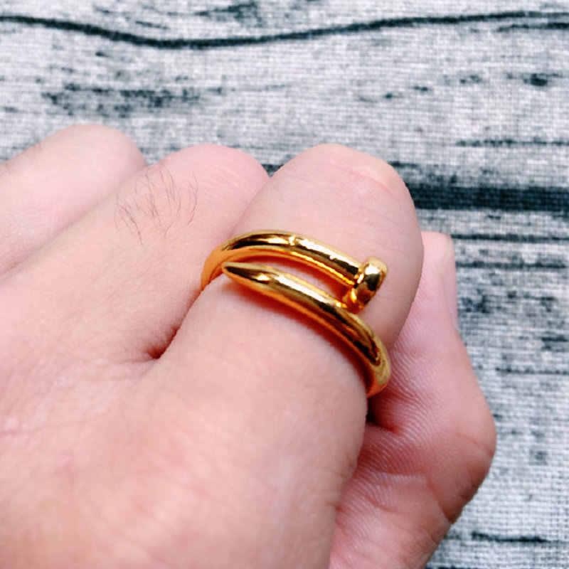 เล็บแหวนผู้หญิงสแตนเลสสตีลเงินสีดำ Rose Gold Girl เครื่องประดับ