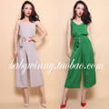 FREE SHIPPING 2016 Summer New Arrival All Match Khaki Green Loose Vest Tank And Ankle Length Pants Suit Women Clothes Sets 103