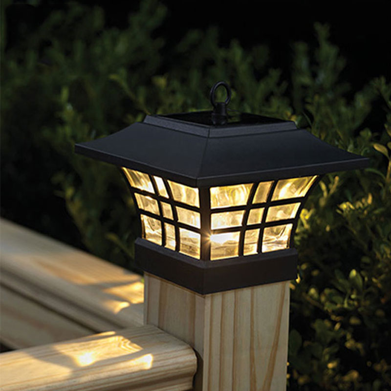 Fence post led solar lamp outdoor waterproof pillar garden for Eclairage led exterieur de jardin