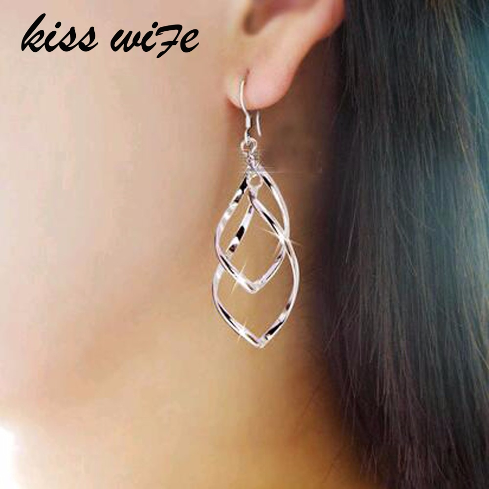 KISS WIFE Hot Sale Simple Hollow Rhombus Hollywood Star Ziyi Zhang Stud Earrings for Women Girl Piercing Jewelry