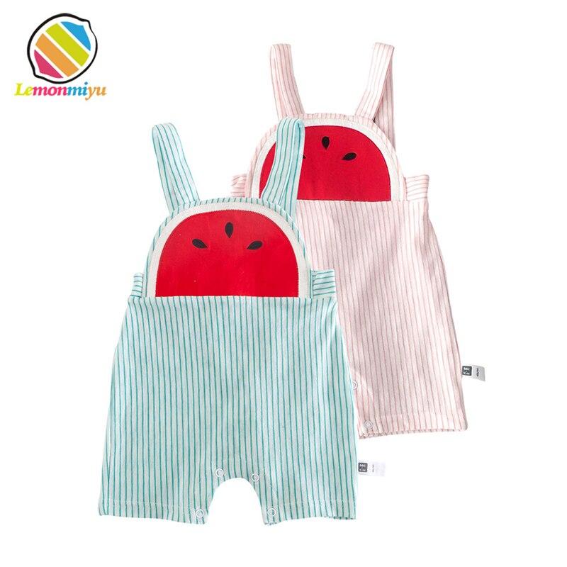Lemonmiyu Summer Baby Overalls Cotton Striped Cartoon   Shorts   Cute Unisex Bloomer Beach   Short   Trousers Toddler Casual   Short   Pants