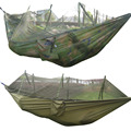Portable Tactical 300kg Maximum load Travel Camping Outdoor Waterproof Fabric Hammock Hanging Nylon Bed + Mosquito Net