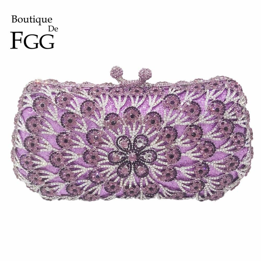 Socialite Purple Crystal Embrague de la Tarde Para Las Mujeres Mini Bolsos Ahuec