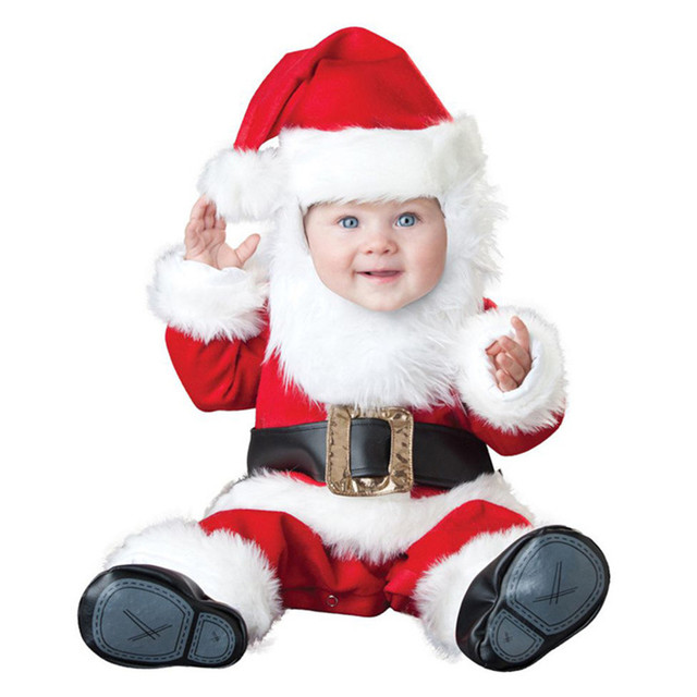 Newborn Boy Christmas Costume Cosplay Santa Claus Girl Infant Clothing Baby Gift Set Hooded Thicken Baby Bodysuit Winter