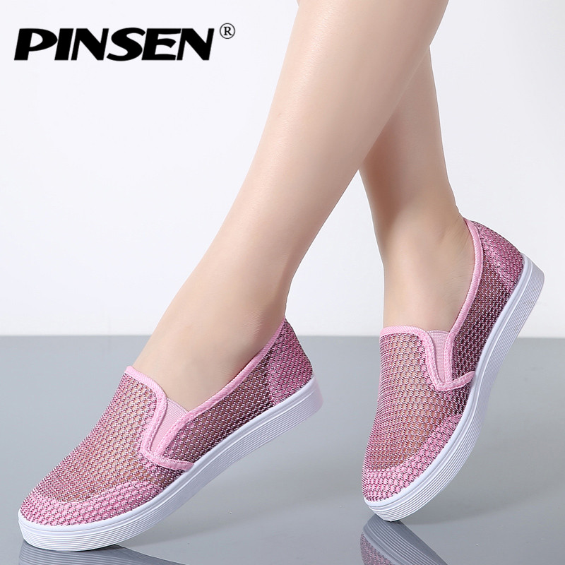 PINSEN 2018 Summer Women Shoes Breathable Slip-On Flat Shoes Woman Fashion Ballerina Flats Loafers Ladies Shoes pinsen brand women casual loafers breathable summer flat shoes woman slip on casual shoes new zapatillas flats shoes size 35 42