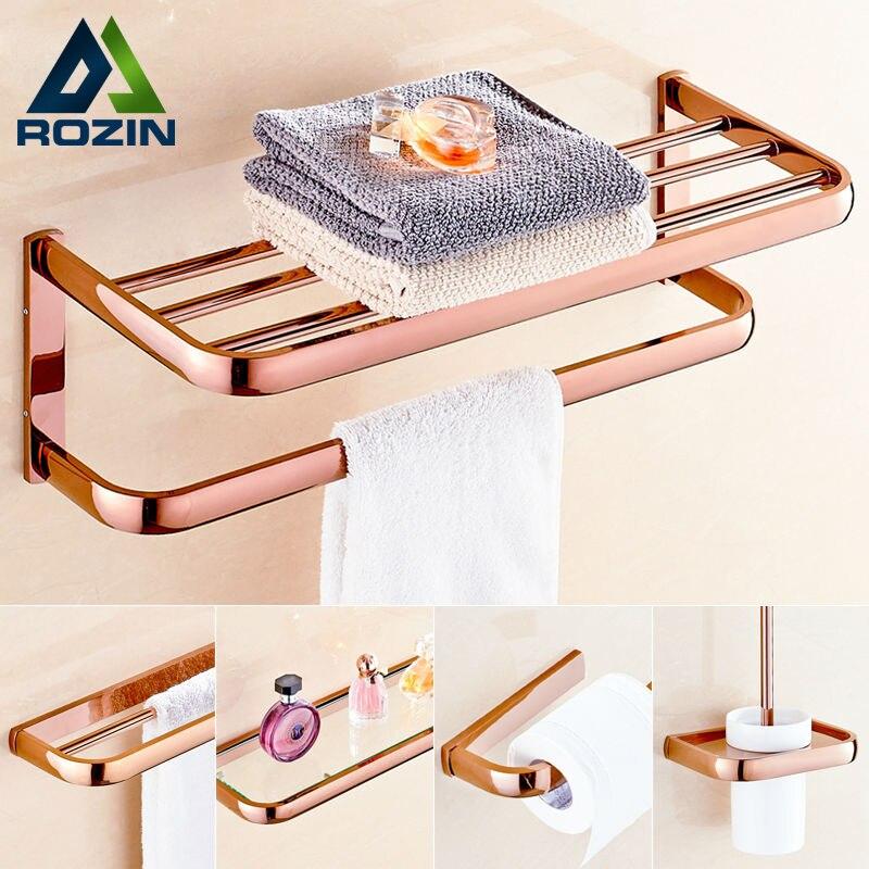Rose Golden Bathroom Hardware Sets Towel Rack/ Storage Shelf /Towe Bar / Toilet Brush Holder / Paper Holder