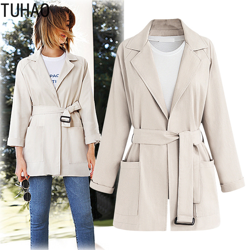 TUHAO 2018 Autumn Winter Office Lady Long Sleeve Cardigan with Belt   Trench   Plus Size 4XL 3XL Women Open Stitch   Trench   Coats MKFS