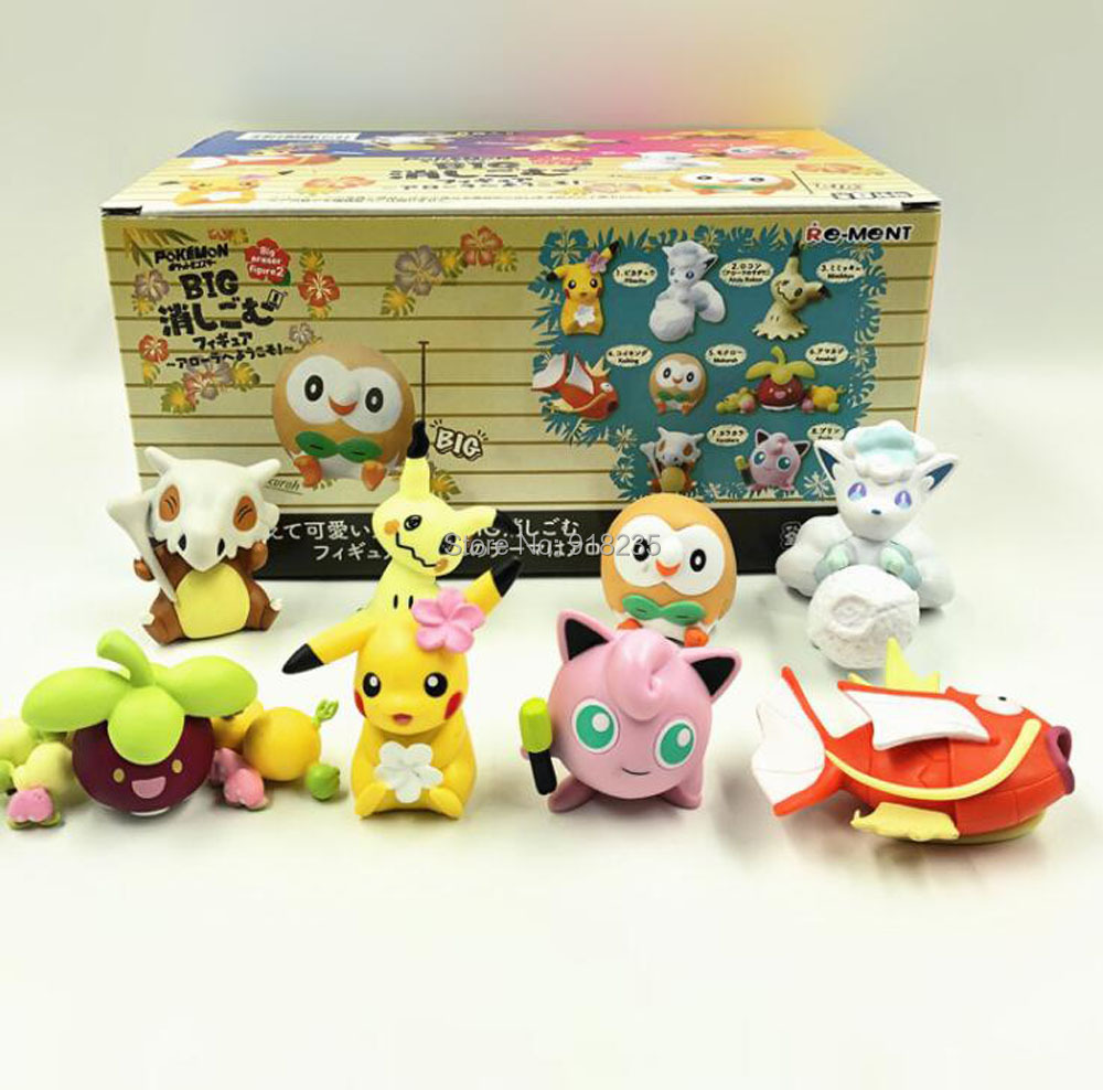 3 Sets/8 stuks Pikachu Rowlet Vulpix Mimikyu Cubone Clefairy Magikarp Bounsweet 5 CM PVC Action Figures Speelgoed-in Actie- & Speelgoedfiguren van Speelgoed & Hobbies op  Groep 2