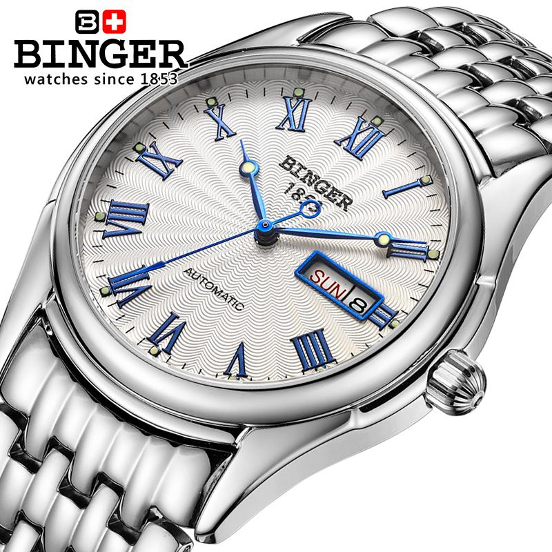 Switzerland watches men luxury brand Wristwatches BINGER luminous Mechanical Wristwatches  full stainless steel Waterproof B106 switzerland watches men luxury brand wristwatches binger luminous automatic self wind full stainless steel waterproof bg 0383 3