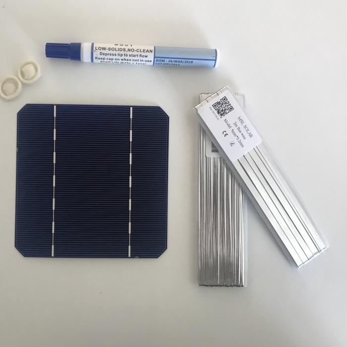 ALLMEJORES 50pcs monocrystalline solar cells 2.75W 0.5V DIY 24V solar panel give enough tabbing & Bus wire 1pcs flux pen free