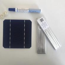 ALLMEJORES 50pcs monocrystalline solar cells 2.75W 0.5V DIY 24V solar panel give enough tabbing & Bus wire 1pcs flux pen free