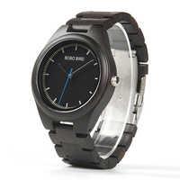 BOBO BIRD Fashion Brand Watches Men Handmade Natural black Wood Wrist Watch with wood Gifts Box relogio masculino B-O03