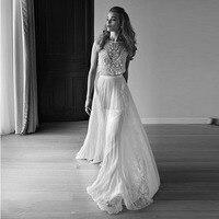2017 Hippie Boho Two Pieces Wedding Dress Vestido De Noiva Cap Sleeve Pearls Beading Lace Chiffon Bohemian Beach Wedding Gowns