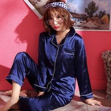 Autumn Emulation Silk Pajamas Stes Women's Winter Ice Silk Long Sleeve Shirt Two Sets Woman Nightgow