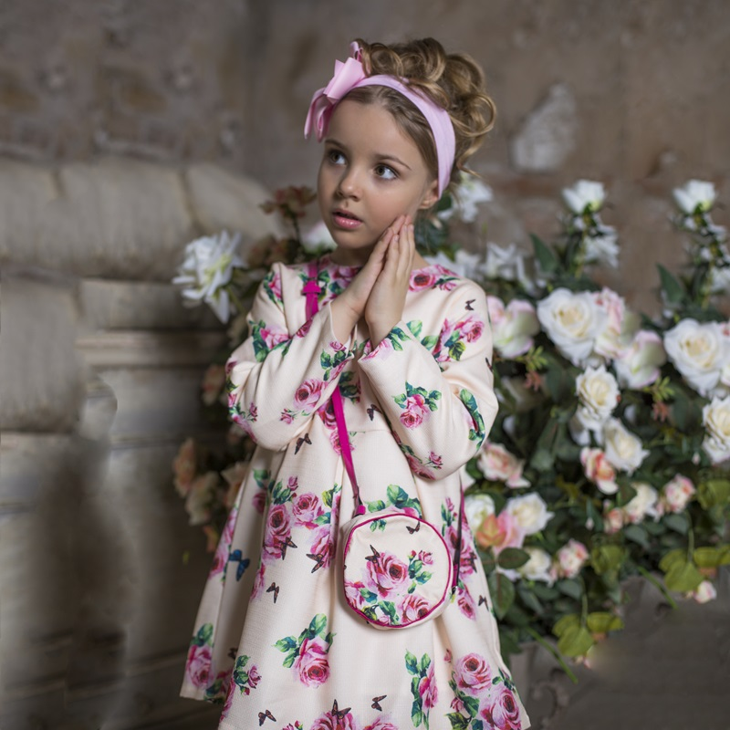 Girl Dresses 2017 Autumn Princess Dress with Bag Robe Fille Enfant Print Pattern Kids Cl ...