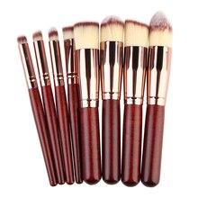 Pro 8pcs/Set Makeup Cosmetic Set Eyeshadow Foundation Wood Brush Stipple Fiber Powder Brush Blusher Tool Set