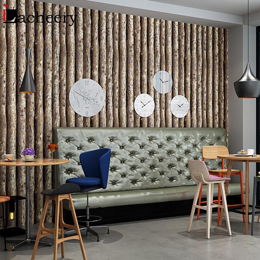 53cm X 10m Vintage 3D Grain de bois décor à la maison papier peint rouleau pour salon Bar Restaurant personnalité rayure papier peint décoration