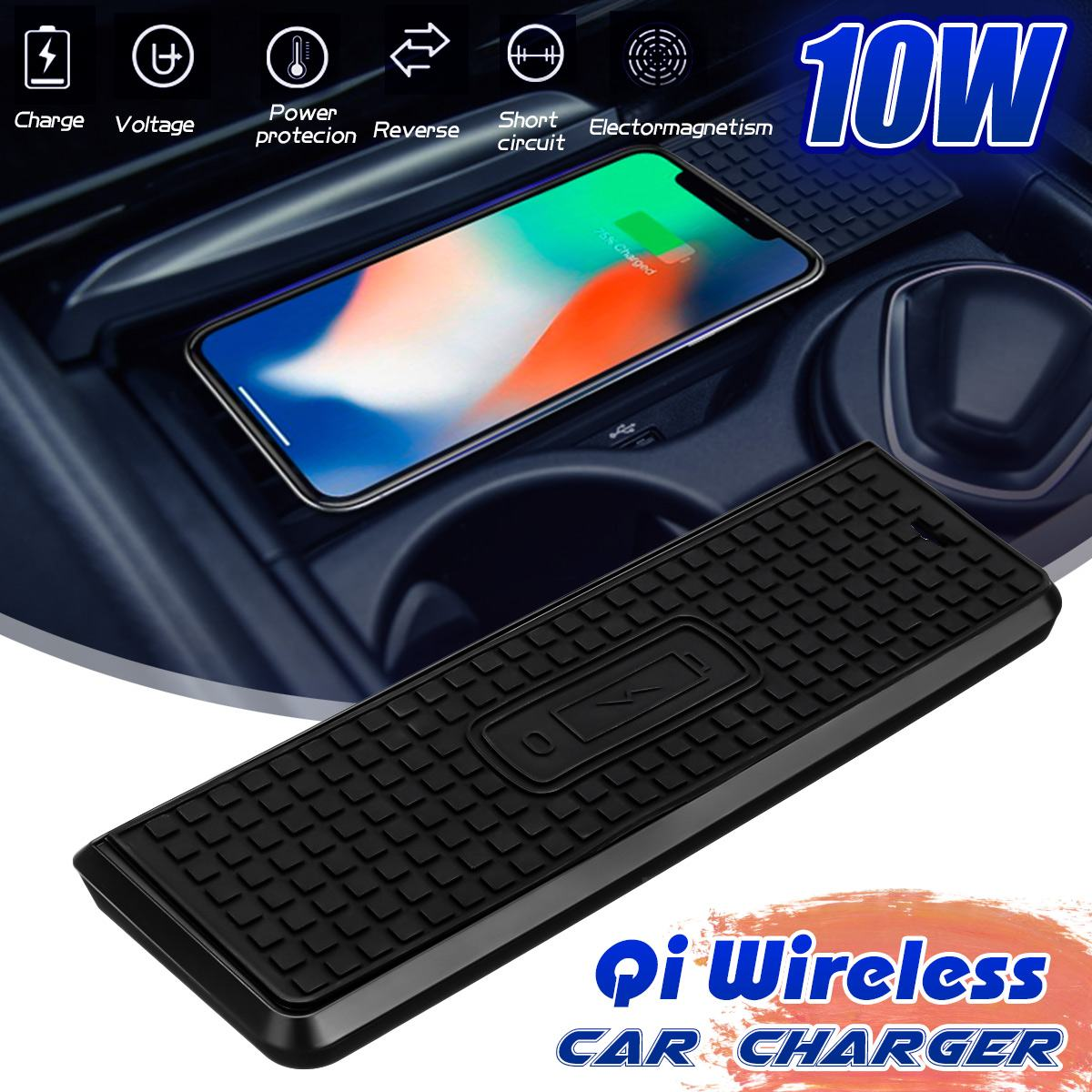 Car 10W Qi Wireless Fast Charging <font><b>Case</b></font> Charging Panel Car Charger Phone Holder <font><b>For</b></font> <font><b>BMW</b></font> 3 Series 14-18 <font><b>For</b></font> <font><b>iPhone</b></font> <font><b>8</b></font>/X/XSmax image