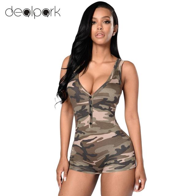 07dbb91f4fa2 Sexy Women Bodysuit Camouflage Sleeveless Playsuit Deep V Neck Bodysuit  Shorts Casual Overalls Vest Jumpsuit Rompers Army Green