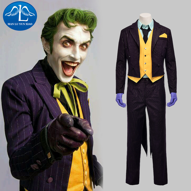 MANLUYUNXIAO Men Costume Batman Arkham Asylum Joker Cosplay Costume  Halloween Joker Costume For Men Custom Made