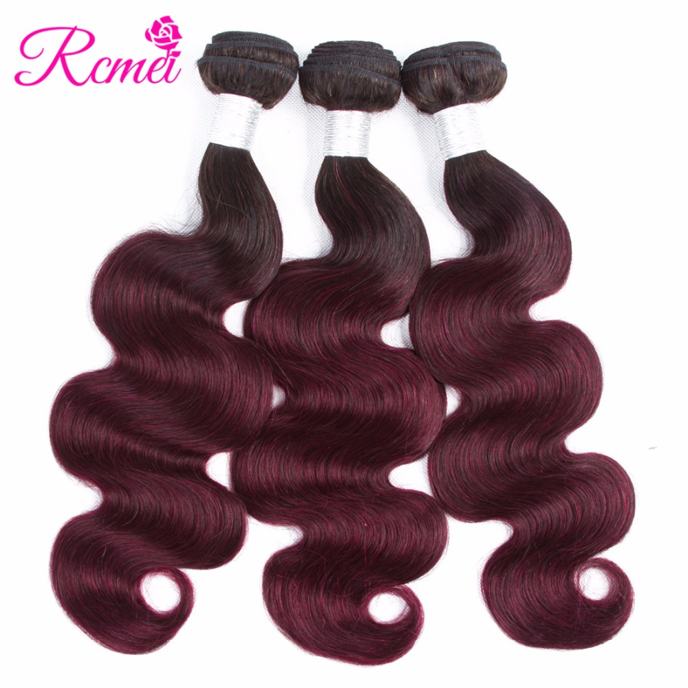 Ombre T1b 99j Colored Hair Weaving Brazilian Body Wave 3 Bundle Deal Pre-Colored Hair Weave 99j Human Hair Extension Rcmei