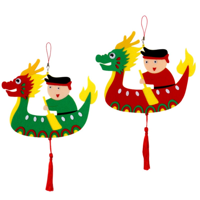 Boats:  DIY Children Dragon Boat Non woven Clothing Kids Kindergarten Crafts handmade Toys Boats Race Sports Early Education STEAM Arts - Martin's & Co